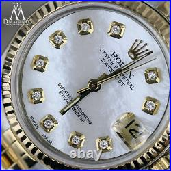 Diamond 18K & SS Rolex 31mm Datejust White Mother Of Pearl Dial Jubilee Watch
