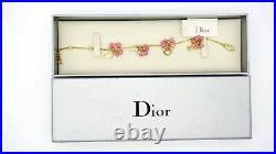 Dior Letter Dangle Drop Charm Pink Floral Bracelet Gold Tone Women Jewellery