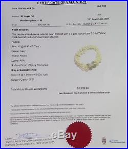 Double Strand Akoya Cultured Pearl 14k Gold Diamond Set Bracelet Val $2220