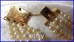 ELEGANT 4 STRAND AKOYA PEARL BRACELET WithLARGE GOLD CLASP 3/4 WIDE