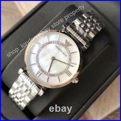 EMPORIO ARMANI AR1908 Silver Tone Classic Mother of Pearl Dial Ladies Watch
