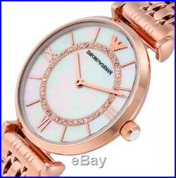 EMPORIO ARMANI AR1909 Rose Gold Tone Classic Mother of Pearl Dial Ladies Watch