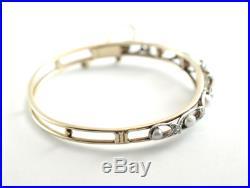 Edwardian Diamond pearl 14k Yellow & White Gold Hinged Bangle Bracelet
