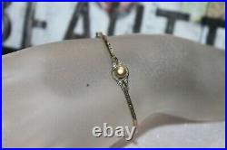 Edwardian Pearl Bangle BELLE EPOQUE Sterling Silver & Gold Fill Bracelet 5 1/2