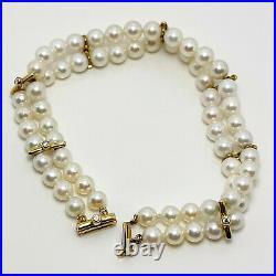 Elegant Cultured Akoya Pearl 18k Gold Diamond Bracelet (5228)