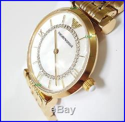 Emporio Armani Women's Watch Gold Band Mother of Pearl White Dial AR1907 Genuine