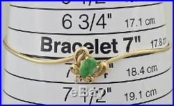 Estate 14K Yellow Gold Tear Drop Jade & Diamond Wire Bracelet 4.6 Grams