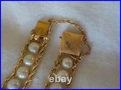 Estate 14k Yellow Gold Double Rope Pearl Bracelet 11.2 gms, 7 inch