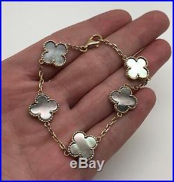 Estate 18K Yellow Gold 7 Flower Clover Motif Black Mother Of Pearl MOP Bracelet