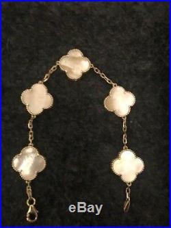 Estate 18K Yellow Gold Flower Clover Motif White MOP Bracelet Alhambra
