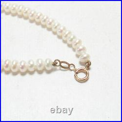Estate 4 mm Saltwater Cultured Button Akoya Pearl Bracelet 14K Yellow Gold Clasp