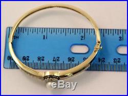 Estate Jewelry 14k Yellow Gold Pearl and Diamond Blue Enamel Bangle Bracelet