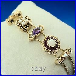 Estate KLJCI Klein 14K Yellow Gold Multi Gem 5 Charm Double Row Slide Bracelet