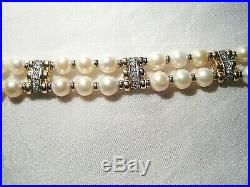 Estate Solid 14KT Gold. 36 ctw Diamond & Cultured Pearl Bracelet