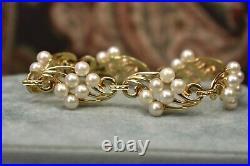 Estate Vintage 14K yellow gold Miki Moto Pearl bracelet 7
