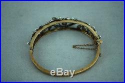 Estate Vintage 14K yellow & white gold genuine pearls and diamonds bracelet