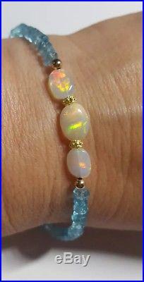 Ethiopian Fire Opal cabochon 14k gold beads Blue Topaz necklace bracelet set