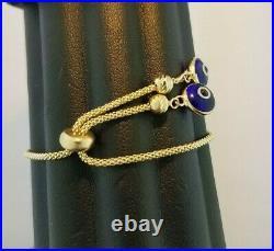 Evil Eye Diamond Cut Gold Beads Charm Chain Adjustable Bracelet 14K Yellow Gold