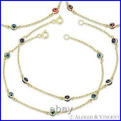 Evil Eye Turkish Nazar Greek Kabbalah 4mm Luck Charm Bracelet in 14k Yellow Gold
