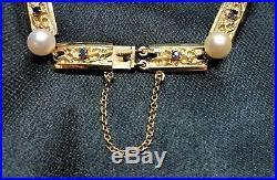 Exceptional Mikimoto Pearl & Sapphire Bracelet 14k Gold