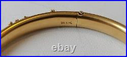 Exceptional Victorian Pearl Decorated 14K Yellow Gold Hinged Bangle Bracelet