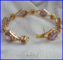 Exquisite Edwardian 15K Solid Gold Amethyst Ruby & Seed Pearl Bangle Bracelet