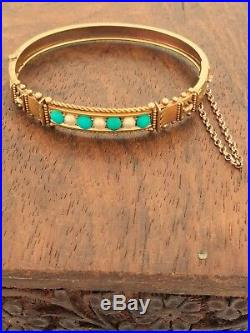 Fabulous 15ct Gold Turquoise & Pearl Victorian Bangle Bracelet. NICE1