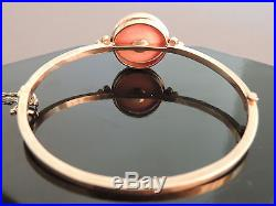 Fine 12kt Yellow Gold Coral & Seed Pearls Bangle Bracelet