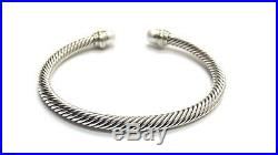 Fine David Yurman Silver/14K Yellow Gold 5mm Pearl Cable Classic Cuff Bracelet