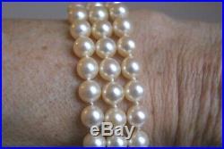 Fine Vintage Three Row Cultured Pearl Bracelet 9 Ct Gold Garnet & Pearl Clasp