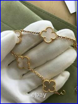For Van Cleef Arpels Alhambra Style 5 Mother of Pearl 18K Yellow Gold Bracelet