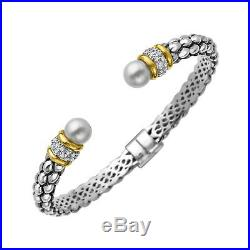 Freshwater Pearl Beaded Bracelet with Diamonds in Sterling Silver and 14K Gold