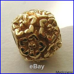 GENUINE SERENITY 9K 9ct SOLID YELLOW GOLD ALL FLOWERS BEAD CHARM BRACELET