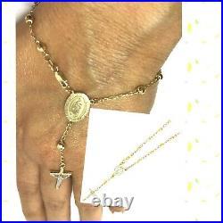 GOLD Rosary Bracelet 14k Guadalupe Mary jesus Cross Bead Rosario ball 7.5