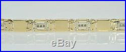 Gents Mens 14k Yellow Gold 1Ctw Diamond Black Onyx Mother of Pearl Bracelet 8