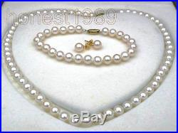 Genuine 7mm AAA+ round white akoya pearl necklace bracelet earring SET 14K gift