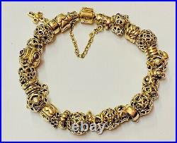 Genuine PANDORA 585 14K Gold Charm Bracelet Fully Loaded Heavy 69.1g Superb