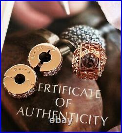 Genuine Pandora 14k Rose Gold Barrel Snake Chain Bracelet+9 Charms 588781coo