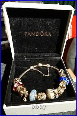 Genuine Pandora 14k yellow gold bracelet safety chain and 13 retired charms rare