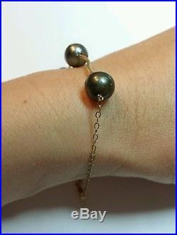 Genuine black gray Tahitian pearl solid 14k yellow gold bracelet wave twist