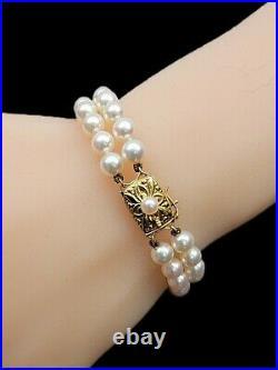 Gorgeous Mikimoto 18K 750 Yellow Gold 6mm Double Strand Akoya Pearl Bracelet