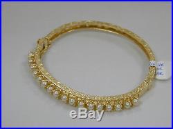 Gorgeous Vintage 14k Yellow Gold Filigree Hinged Pearl Bangle Braceletestate