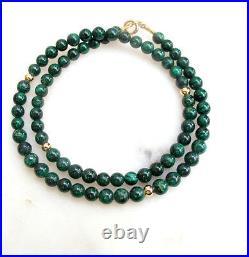 Green eilat gemstone beads 14k solid gold bracelet bead men emerald bangle women