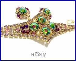 HAUTE COUTURE DESIGNER Vtg Gripoix Glass Rhinestone & Pearl Bracelet Earring Set