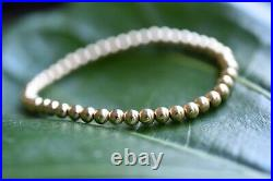 Heavy 4mm Bead Round Stamped 14k Yellow Solid Gold Ball Stretchy Bracelet 7