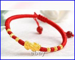 Hot Sale Real 24K Yellow Gold Bracelet Woman 146mm 3D Lucky Pixiu Link 3mm Bead