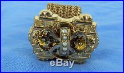 INCREDIBLE Antique GOLD FILLED SEED PEARL SLIDE MESH BRACELET NEEDS TLC