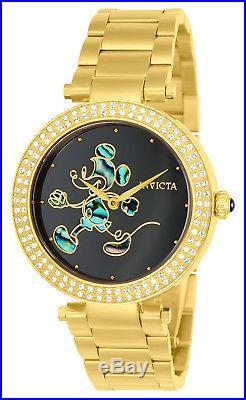 Invicta 23789 Womens Disney Black Dial Yellow Steel Bracelet Watch