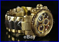 Invicta 48mm Capsule Chronograph BROWN Mother of Pearl Dial 18K Gold Plate Watch