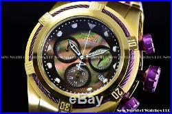 Invicta 53MM Bolt ZEUS Reserve Swiss Burgundy & 24K Gold MOP Bracelet SS Watch